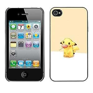 A-type Arte & diseño plástico duro Fundas Cover Cubre Hard Case Cover para iPhone 4 / 4S (Pikachu Lollipop)