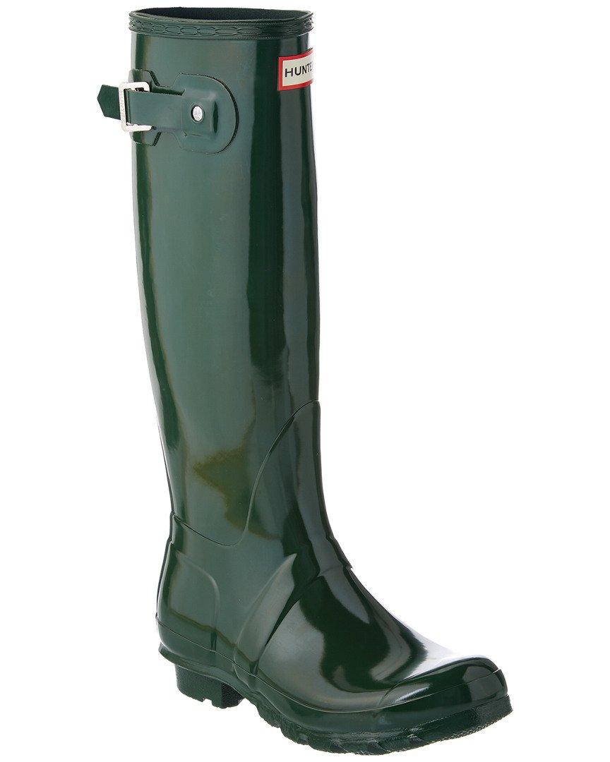 Hunter Women's Original Tall Gloss Boot, 8, Green by Hunter