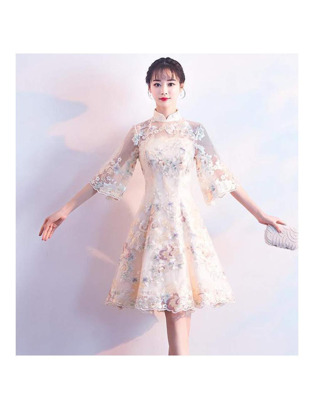 Champagne Style 1 M ATLD Cheongsam Noble Mariée Robe De Mariée élégante Fille Fleur Qipao Classique Col Mandarin Cheongsam Robes De Soirée Féminines Orientales