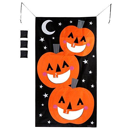 OurWarm Halloween Games Pumpkin Bean Bag Toss Game 3 Bean Bags, Felt Bean Bag Games for Kids Party Halloween Decorations]()