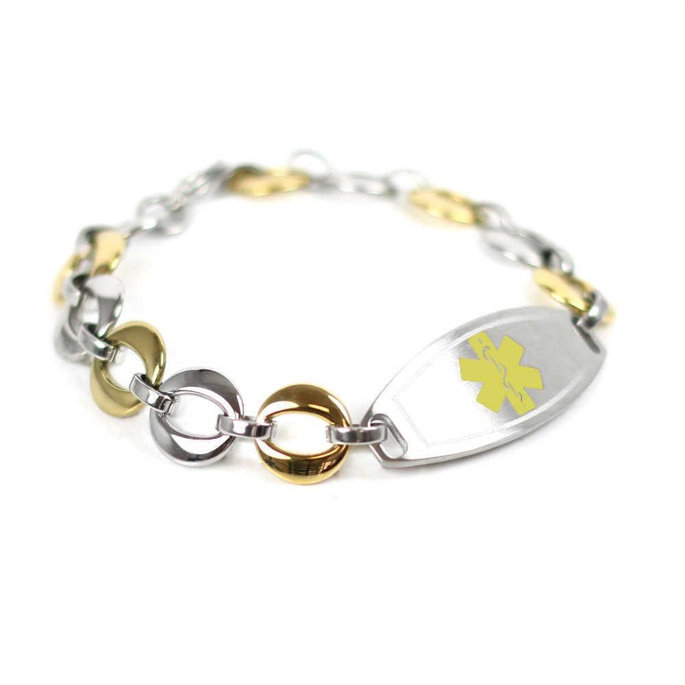 My Identity Doctor Custom Medical ID Bracelet with Free Engraving, Gold Tone Steel Links
