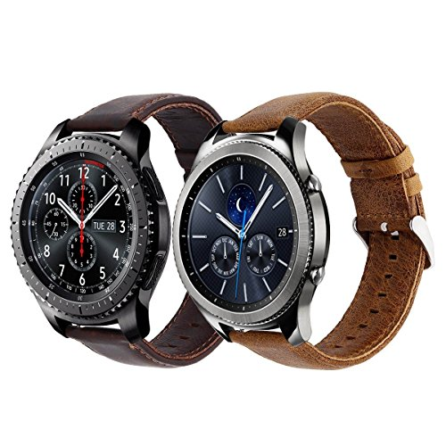 Gear S3 Band, KADES Genuine Leather Replacement Band with Quick Release Pin Stainless Steel Buckle for Gear S3 Classic and Gear S3 Frontier Smart Watch- Large/Extra Large, Brown + Coffee