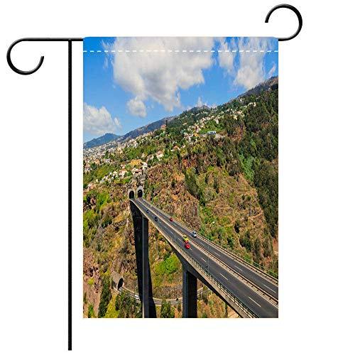 - BEICICI Custom Personalized Garden Flag Outdoor Flag Scenic Road in Mountain Landscape of Madeira Island Portugal Decorative Deck, Patio, Porch, Balcony Backyard, Garden or Lawn