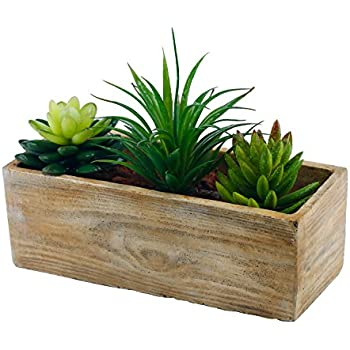 Amazon Com Country Rustic Wood Planter W 3 Faux