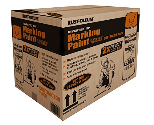 Rust-Oleum 266599 Professional 2X Distance Inverted Marking Spray Paint 15 Oz, Fluorescent Red Orange, Contractor 12 Pk