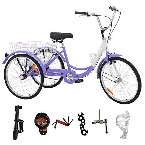 H&ZT Single Speed Adult Tricycle Trike Cruiser Bike 3 Wheeled Bicycle w/Large Basket and Maintenance Tools, Men's Women's Cruiser Bicycles, 24 Inch Wheel Size Bike Trike (Purple, Single Speed)