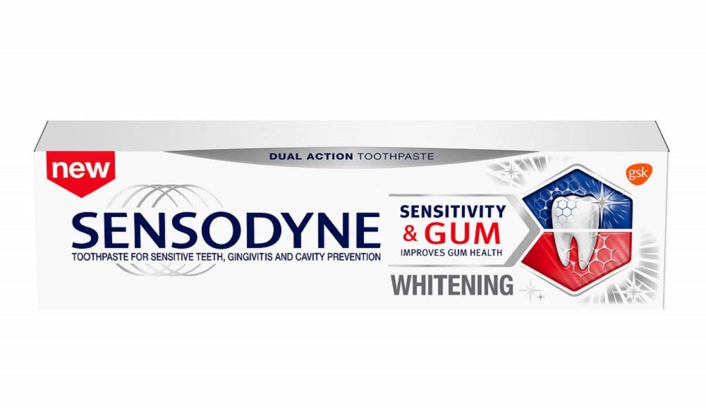 Sensodyne Sensitivity & Gum Whitening Toothpaste, Unflavored, 3.4 Ounce