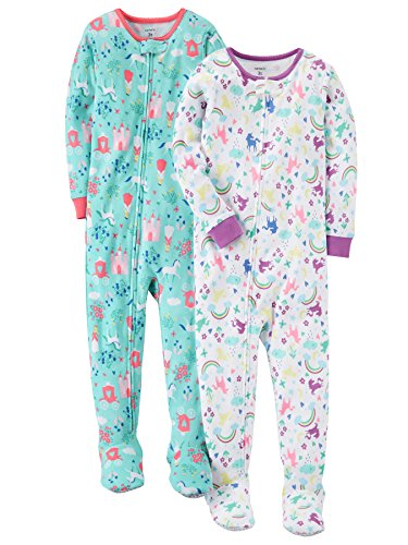 Carter's Baby Girls' 2-Pack Cotton Pajamas, Unicorn / Nap Queen, 12 Months