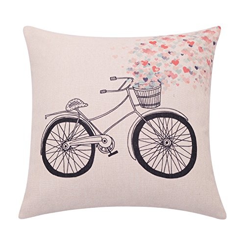 BreezyLife Valentines Day Decorative Pillow Cover Bike with