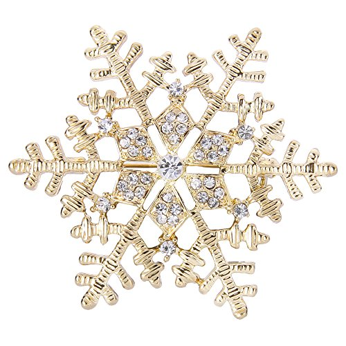 EleQueen Women's Clear Austrian Crystal Winter Snowflake Brooch Pin Gold-Tone