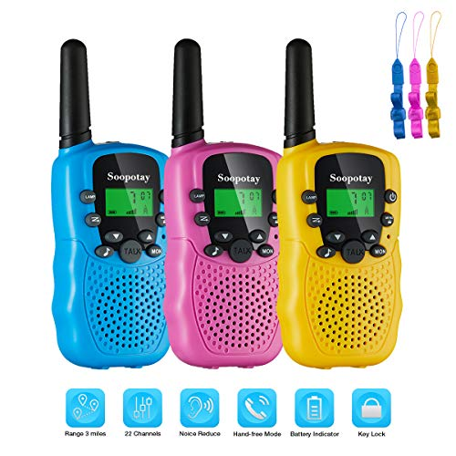 SOOPOTAY Walkie Talkie for Kids 3 Pack, Kids Walkie Talkies with 3 Miles Long Distance and 22 Channels for 3-12 Years, Kids Two-Way Radios Toys for Girls and Boys, Indoor and Outdoor Game (Best Walkie Talkie In The World)