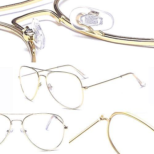 Hombres Transparentes Marco de Retro Redondo Aviador Mujeres Para Lentes Gafas BOZEVON Ultrafino Claro de Anteojos Metal Gafas Lectura Decoración Oro qgtnfwa4