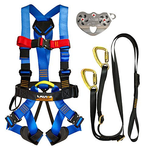 Fusion Climb Pro Backyard Zip Line Kit Harness Lanyard Trolley Bundle FK-A-HLT-19