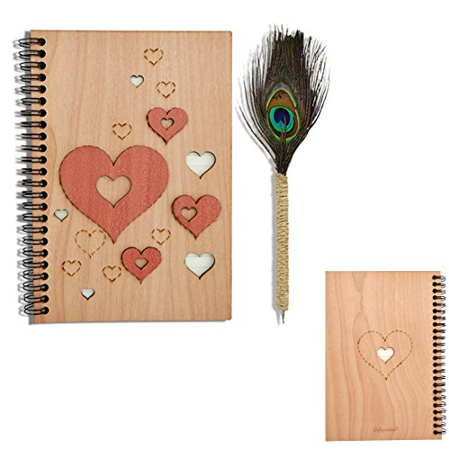 Giftgarden Wooden cover Spiral Notebook and Journals A5 Papers Gifts and Handmade Vintage Peacock Feather Ballpoint Pen