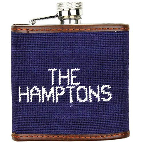 Nautical Needlepoint - Limited Edition Southampton-Nautical Flags Needlepoint Flask in Navy by Smathers & Branson