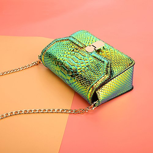 Chain Cellphone Girls Bag Bag Snake Leather Crossbody Hologram Peiji Green Shoulder Skin with Wallet 8ZgRp7BBqw