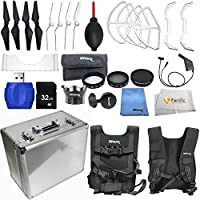 Accessory kit for DJI Phantom 4 includes Hard-Shell Mini Aluminum Case + 2 Pairs of Carbon Fiber Propellers + 2 Pairs of White Propeller Blades + 32GB SD Memory Card + High Speed Card Reader & More!