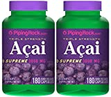 Piping Rock Triple Strength Acai Supreme 3000 mg 2 Bottles x 180 Quick Release Capsules Herbal Supplement