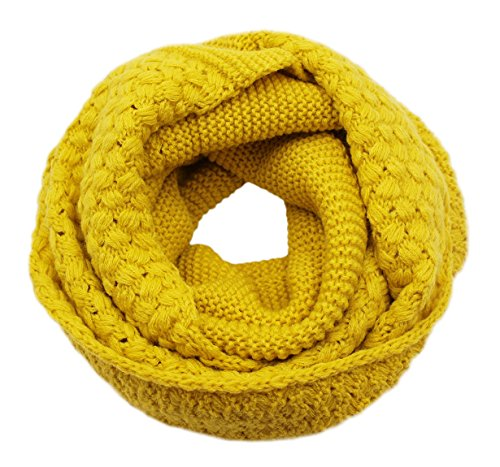 Girls Women Fashion Solid Thick Knitted Scarf Winter Warm Infinity Loop Scarf Thick Neckerchief (Crochet Neck Scarf)