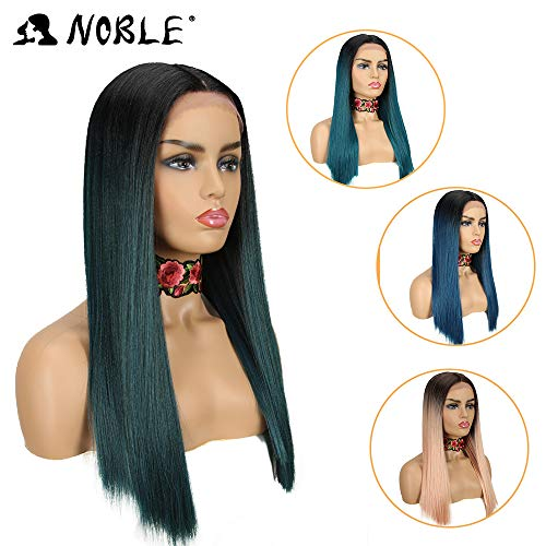 NOBLE Lace Front Wigs Black Yaki Straight Long Hair Wig Middle Part Colorful Synthetic Front Lace Wigs Heat Resistant Synthetic Wig for Black Women (19.5inches, TT1B/GREEN8)