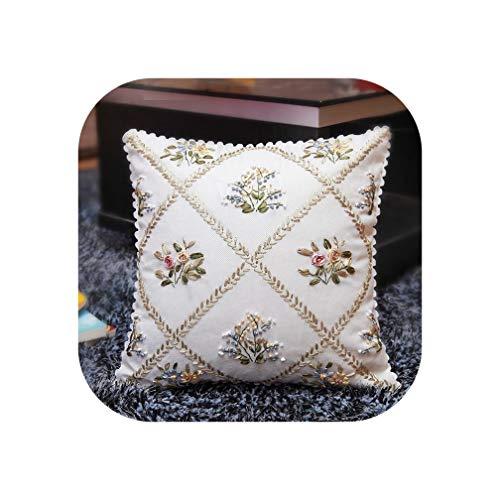 European Style Garden Ribbon Embroidery kit Toolkit Cushion Covers Pillow Cover,White