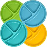 Set of 4 Divided Toddler Plates Set for Baby Plate, Kids, Children, BPA Free Silicone for Feeding by Salbree (7.5' Round, Green, Light Blue, Aqua, Yellow)