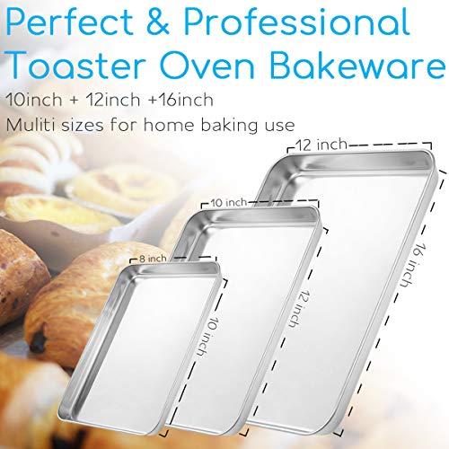 Baking Sheet Set of 3, Bastwe Cookie Tray Pan Stainless Steel Baking Pan, Healthy & Non Toxic, Rust Free & Superior Mirror Finish, Easy Clean & Dishwasher Safe by Bastwe (Image #2)