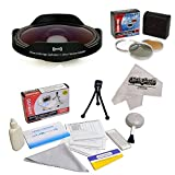 Opteka Platinum Series 0.3X HD Ultra Fisheye Lens Kit for All Sony, JVC, Canon, Panasonic & Samsung camcorders that accept 37MM, 34MM, 30.5MM, 30MM & 25MM filters - Includes Bonus 3 Piece Filter Kit (UV, CPL, FLD) + Deluxe Lens Cleaning Kit + LCD Screen Protectors + Mini Tripod + 47stphoto Microfiber Cloth Photo Print !