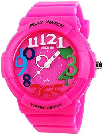 Children's Students Fashion Waterproof Jelly Quartz Sports Watches Rose Red