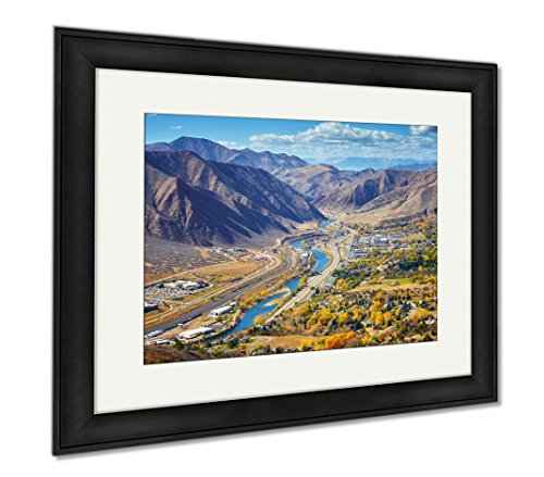 Ashley Framed Prints Aerial Picture Of Glenwood Springs Valley In Colorado, Wall Art Home Decoration, Color, 26x30 (frame size), Black Frame, - Valley Glenwood