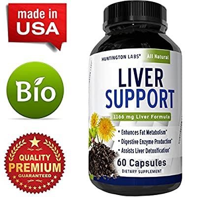 Liver Cleanse Detox Weight Loss and Energy Supplement for Women and Men –Liver Health Complex with Milk Thistle Dandelion Berbine & Burdock – Antioxidant Support - Boost Immunity By Huntington Labs