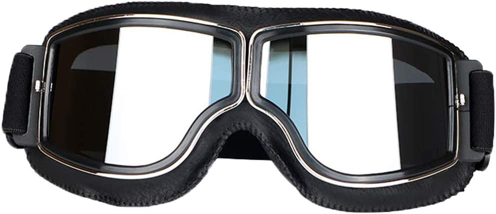 LEAGUE&CO Gafas de Moto Retro Vintage Gafas de Protección Gafas Piloto Gafas de Aviador, Gafas para Casco Harley Davidson Dyna Touring Trike Motocross Marco Negro, Lente Plata