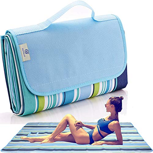 Fashionlive Beach Blanket Extra Large Picnic Blanket Sandproof Waterproof Outdoor Blanket Lightweight Handy Mat Portable Beach Mat for Camping Hiking Travel Park Grass