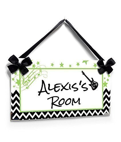 Girls or Teenagers Room Name Door Sign, Music Theme, Stars and Chevron