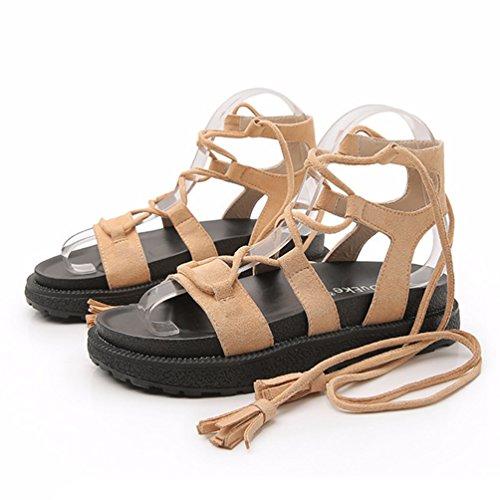 Confortable Sandales Lanières Femme 43 Vintage Sandales Beige Plateforme JRenok Bout à Ouvert 34 Chaussures 1fZq0Zxw