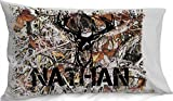 Personalized Camo Pillowcase ( Standard 20 x 30, Light Grey ) for Kids Camouflage Bedding Custom with Name Standard Pillow case for Kids Boys Birthday or Christmas Gift for Kids