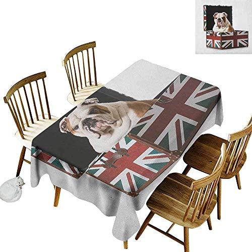 DONEECKL English Bulldog Durable Tablecloth Washed Cute Bulldog Sitting in Union Jack Britain Themed Box Patriotic Design Multicolor W60 xL120