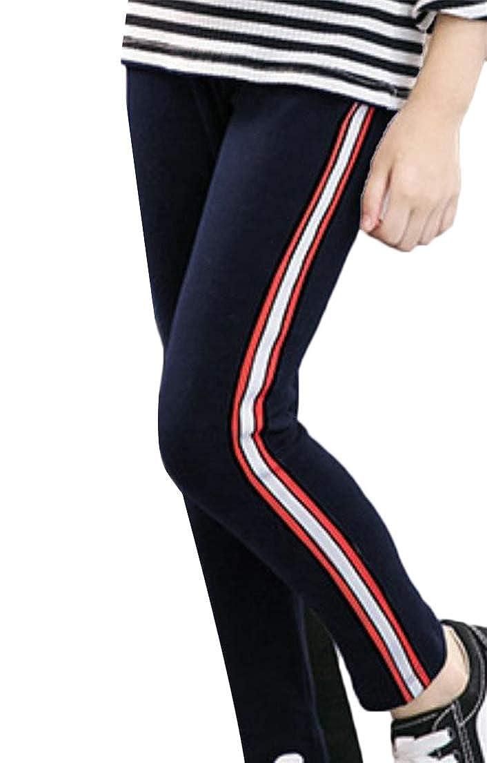 Wofupowga Big Girls Leggings Kids Stripe Classical Stretch Trousers Pants
