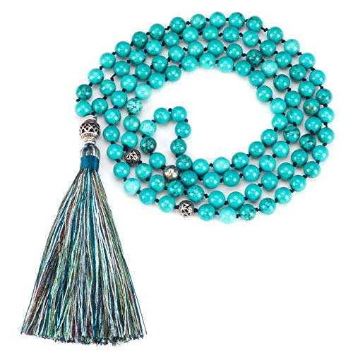 Cherry Tree Collection Mala Necklace | 108 Hand-Knotted 8mm Gemstone Round Beads, Antiqued Guru and Counter Beads, and Tassel | Meditation, Buddhist Prayer, Healing (Turquoise Howlite) ()