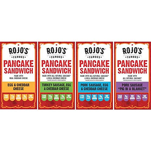 Rojo's Famous Original Frozen Pancake Breakfast Sandwich (Pack of 12) / Variety Pack, Sausage Egg & Cheese Wrapped Inside A Freshly Made, Fat-Free Pancake / A Healthy Family Breakfast Alternative