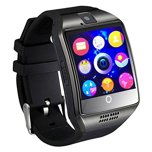 Smart Watch with Camera, Ezone Q18 Bluetooth Smartwatch with Sim Card Slot Fitness Activity Tracker Sport Watch for Android Smartphones (Black)
