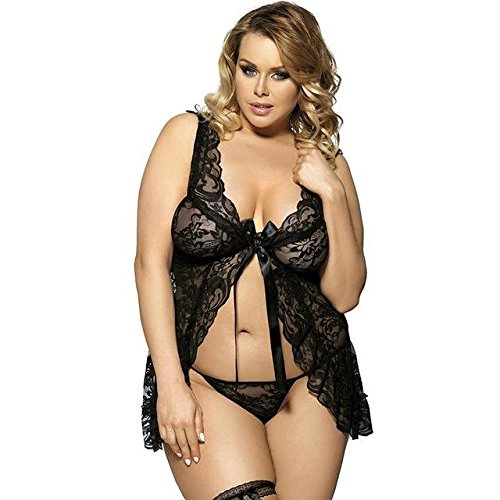 6fa4527b287 HITSAN Plus Size Babydoll lace See Through Women Underwear Strappy  Sleeveless hot Lingerie Sheer Nightgown Black 6XL  Amazon.ca  Clothing    Accessories