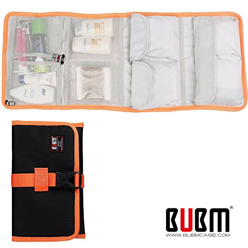 (BUBM Roll-Up electronics organizer, travel carry case, Hanging Toiletry Cosmetics Bag, Cable Stable, Wash Bag, Baby Healthcare kit(4Folded,Black))