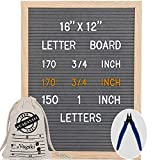 Letter Board 12 x 16 Inches - Vagski Gray Felt Letter Board with 490 Letters Numbers & Symbols (1'' + ¾''), Changeable Message Board Sign with Oak Wood Frame, Letter Pouch & Scissors VAG047GY