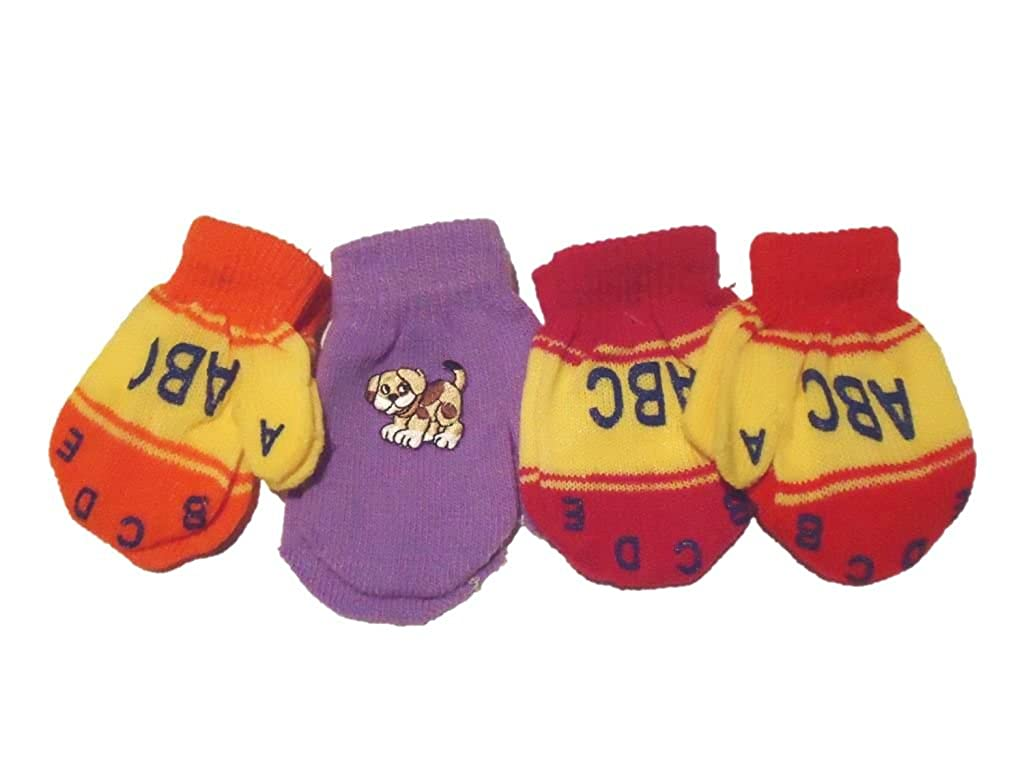 Set of Four Pairs of One Size Magic Stretch Mittens for Infants Ages 3-12 Months Baby Boys Gloves & Mittens