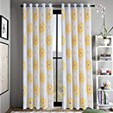 Anady Top Yellow Flower Blackout Lined Curtains 2 Panel Bright Flower Decro Curtains Bedroom Drapes 63 inch Long(Customized Available)