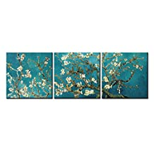 So Crazy Art® - Canvas Print Wall Art Painting For Home Decor,Vincent Van Gogh'S Painting Branches Of An Almond Tree In Blossom, 1890--The Van Gogh Classic Arts Reproduction 3 Pieces Panel Paintings Modern Giclee Stretched And Framed Artwork The Picture For Living Room Decoration,Famous Pictures Photo Prints On Canvas