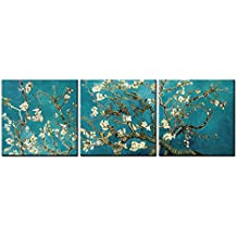Canvas Print Wall Art Painting For Home Decor Vincent Van Gogh'S Painting Branches Of An Almond Tree In Blossom 1890--The Van Gogh Classic Arts Stretched And Framed Artwork For Living Room