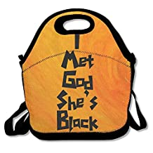 I Met God She's Black Lunch Tote Bag