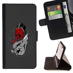 For Sony Xperia Z1 L39 Case , Goth satanista Resumen- la tarjeta de Crédito Slots PU Funda de cuero Monedero caso cubierta de piel